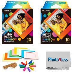 Fujifilm Instax Square Rainbow Film (10 Sheets) 2 Pack + Hanging Frames