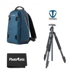 Tenba Solstice 7L Sling Bag - Blue with Slik Sprint 150 Aluminum Tripod with SBH-150DQ Ball Head