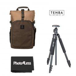Tenba Fulton 10L Backpack - Tan/Olive + Slik Sprint 150 Aluminum Tripod with SBH-150DQ Ball Head