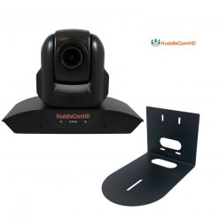 HuddleCamHD 10X 1080p PTZ Camera with Built-in Audio, Black+ HuddleCamHD HCM-1 Small Universal Wall Mount Bracket for Select Cameras , Black