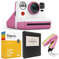 Polaroid NOW i-Type Camera - Pink +Polaroid Color Film for i-Type - Double Pack + Album + Strap