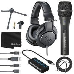 Audio-Technica AT2005USB Cardioid Dynamic USB/XLR Microphone and ATH-M20x Headphones + Acc.
