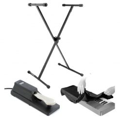 On Stage Classic Single-X Keyboard Stand With On Stage KSP100 Universal Sustain Pedal With Keyboard Dust Cover for 88 Key Keyboards Bundle
