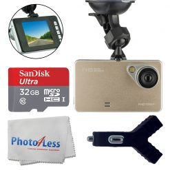 Dashboard DVR Cam Vehicle HD 1080P 170 Degree Ultra Wide Angle Lens G-Sensor Black Box Driving - 2.6 LCD Video Recorder + SanDisk 32GB MicroSDHC Memory Card + Dual USB Car Charger + Cleaning Cloth