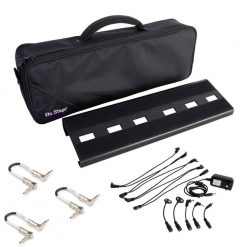On-Stage GPB2000 Compact Pedal Board + On-Stage Stands PS801 Pedal Power Pack + Guitar Patch Cable 6 inches - Full Guitar Accessory Bundle