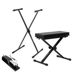 Ultimate Support JSXS300 Single Brace X-Style Keyboard Stand + Medium Keyboard Bench + Alesis ASP-2 Universal Sustain Pedal