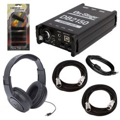 On-Stage DB2150 Stereo USB DI Box + Samson SR350 Over-Ear Stereo Headphones + 2x On Stage Mic Cable, 20 ft. XLR Bulk + On Stage CTA6600 Instrument Cable Ties (5 Pack) – Top Value Bundle!