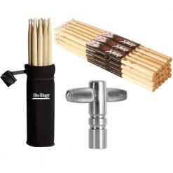 On Stage Maple Wood 7A (12 pair) + Drum Tunning Key & Bag + Drum Stick Holder + Drum Key