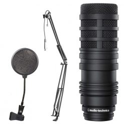 Audio-Technica BP40 Large Diaphragm Dynamic Broadcast Microphone + On Stage Boom Arm with XLR Cable +  Pop Filter