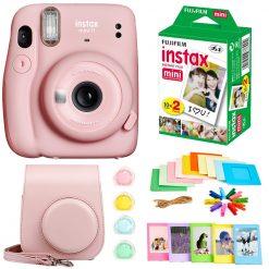 Fujifilm Instax Mini 11 Instant Camera - Blush Pink (16654774) +  Fujifilm Instax Mini Twin Pack Instant Film (16437396) +  Case + Hanging Frames + Plastic Frames + Close-Up lens filters + Cloth