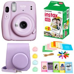 Fujifilm Instax Mini 11 Instant Camera - Lilac Purple (16654803) +  Fujifilm Instax Mini Twin Pack Instant Film (16437396) +  Case + Hanging Frames + Plastic Frames + Close-Up lens filters + Cloth