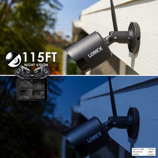 "4 Lorex HD 1080p Outdoor Wireless Security Camera +  8"" Black UV Resistant Zip Ties+ Hosa Label A Cable Kit 60 Peel Off Labels"