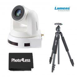 Lumens 20x Optical Zoom, 1080p Hi-Definition PTZ IP Camera, White+ Slik Sprint aluminum Tripod with SBH-150DQ Ball Head