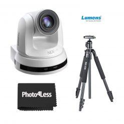 Lumens  VC-A50PN 20x Optical Zoom, 1080p Hi-Definition PTZ IP Camera,  White + Slik Aluminum Tripod with SBH- 150DQ Aluminum Tripod