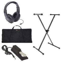On Stage KS7190 Classic Single-X Keyboard Stand + Economy Keyboard Bag + Sustain Pedal + Headphones