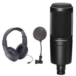 Audio-Technica AT2020 Cardioid Condenser Studio XLR Microphone Black + SR350 Over-Ear Stereo Headphones + Pop Filter
