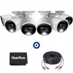 4K Ultra HD Active Deterrence Security Camera, 6 Pack + 6 60ft (18m) Premium 4K RG59/Power Accessory Cables