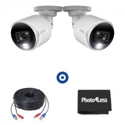 4K Ultra HD Active Deterrence Security Cameras, 2 Pack + 2 60ft (18m) Premium 4K RG59/Power Accessory Cables