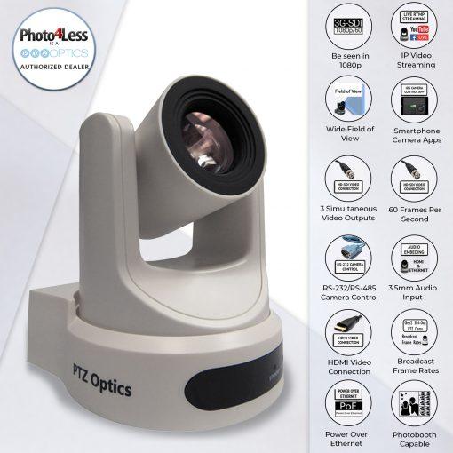 PTZOptics 30X SDI Gen 2 Live Streaming Broadcast Camera, White