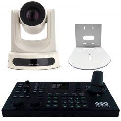 PTZOptics 30X SDI Gen 2 Live Streaming Broadcast Camera, White+ PTZOptics Superjoy IP & Serial PTZ Joystick Controller+HuddleCamHD HCM-1 Small Universal Wall Mount Bracket for Select Cameras, White