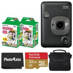 Fujifilm Instax Mini Liplay Dark Grey Camera - Limited Edition + 2X Twin Pack Film + 32GB SD Card + Case + Cloth
