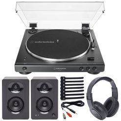 Audio-Technica AT-LP60XBT Stereo Turntable with Bluetooth (Black) + Samson M30 Powered Studio Monitors + Samson Headphones + Stereo Cable + Cable Ties
