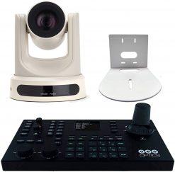 PTZOptics 12X-SDI  Optical Zoom, Live Streaming Indoor Camera, White + PTZOptics Superjoy IP & Serial PTZ Joystick Controller+ HuddleCamHD HCM-1 Small Universal Wall Mount Bracket for Select Cameras, White