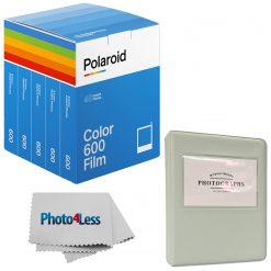 Polaroid Color Film for 600 (5 packs of film - total 40 photos) + Album + Cloth