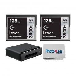 2 Lexar 128GB Professional 3500x CFast 2.0 Memory Cards + Lexar CR1 Professional Workflow CFast 2.0 USB 3.0 Reader + Cleaning Cloth