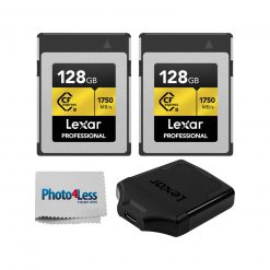 2 Lexar 128GB Professional CFexpress Type-B Memory Cards + Lexar CFexpress USB 3.1 Reader + Cleaning Cloth