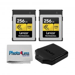 2 Lexar 256GB Professional CFexpress Type-B Memory Cards + Lexar CFexpress USB 3.1 Reader + Cleaning Cloth