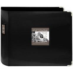 "Pioneer 12""X12"" 3-Ring Binder Scrapbook 3-Ring Binder Sewn Leatherette - Black"