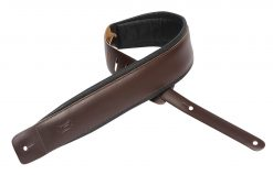 """Levy's Leathers  3"""" Wide Dark Brown Genuine Leather Guitar Strap."""