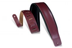 """Levy's Leathers  3"""" Wide Burgundy Genuine Leather Guitar Strap"""