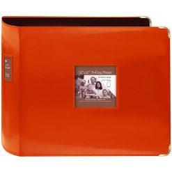 "Pioneer 12""X12"" 3-Ring Binder Scrapbook 3-Ring Binder Sewn Leatherette - Orange"