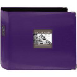 """Pioneer 12""""X12"""" 3-Ring Binder Scrapbook 3-Ring Binder Sewn Leatherette - Purple"""