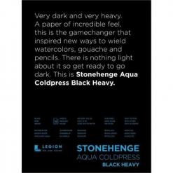 Stonehenge Aqua Black block- 600GSM/300LB – 9x12- 10 shts/block