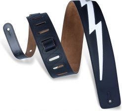"""Levy's Leathers 2 1/2"""" Wide Black Genuine Leather Guitar Strap"""