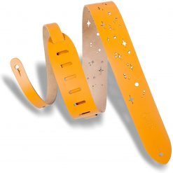 """Levy's Leathers 2"""" Wide Tan Chrome-Tan Galaxy Punch Design Leather Guitar Strap"""