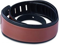 """Levy's Leathers  3"""" Wide Walnut Veg-tan Leather Guitar Strap"""