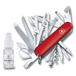 Victorinox Swiss Army SwissChamp Pocket Knife & Multi-Tool, Red + Oil