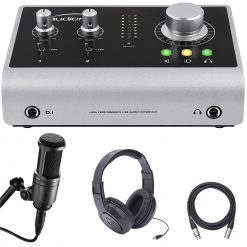 Audient Audio iD14 10-In/4-Out High Performance USB Audio Interface with Audio Technica Cardioid Condenser Microphone + Samson Headphones + XLR Mic Cable