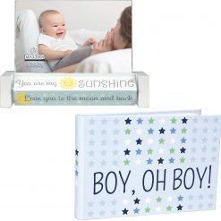 Malden Sweet Boy Oh Boy  4x6 Brag Book + Malden 4x6 Baby Spin Quotes Photo Frame