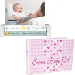 Malden Sweet Baby Girl 4x6 Brag Book + Malden 4x6 Baby Spin Quotes Photo Frame