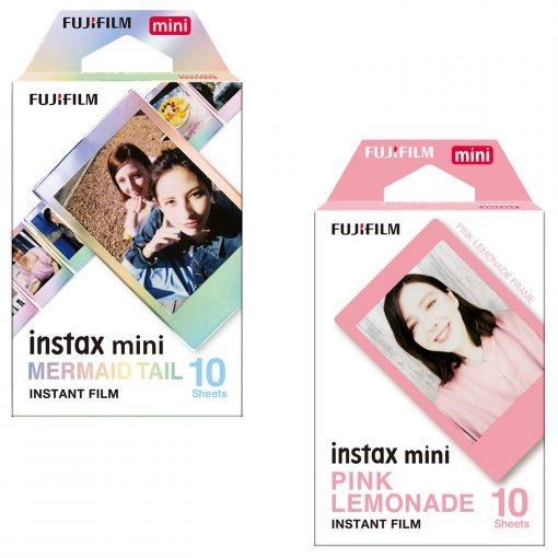 Fujifilm Instax Mini Film – Mermaid 10 Sheets + Instax Mini Pink Lemonade Film 10 Sheets