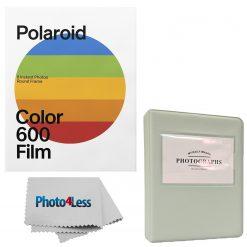 Polaroid Color Film for 600 - Round Frame 8 Frames + Grey Album Holds 32 Photos