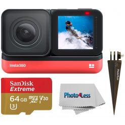 Insta360 ONE R 4K Edition + Spike Mount + SanDisk 64GB SD Card + Cloth