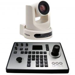 PTZOptics 12X-NDI Broadcast and Conference Camera (White)  + PTZOptics PTJOY G4 Joystick Controller