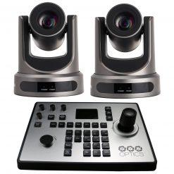 PTZOptics 12x-SDI Gen2 Live Streaming Camera (Gray), 2  Pack + PTZOptics PTJOY G4 Joystick Controller