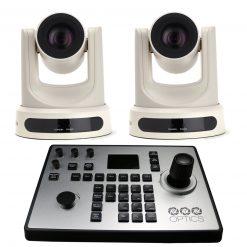 PTZOptics 12X-NDI Broadcast and Conference Camera (White), 2 Pack + PTZOptics PTJOY G4 Joystick Controller